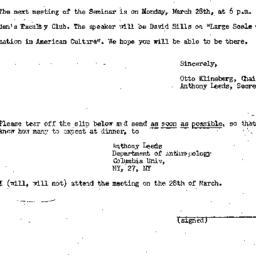 Announcements, 1960-03-18. ...