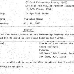 Announcements, 1971-05-05. ...