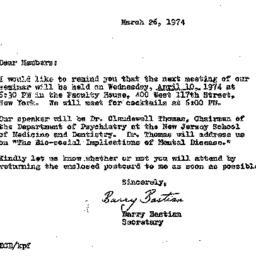Correspondence, 1974-03-26....