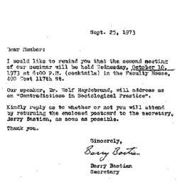 Correspondence, 1973-09-25....