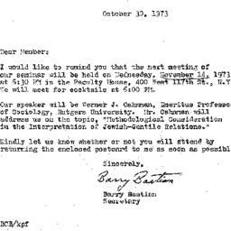 Correspondence, 1973-10-30....