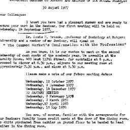 Announcements, 1977-09-14. ...