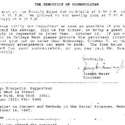 Announcements, 1987-10-14. ...