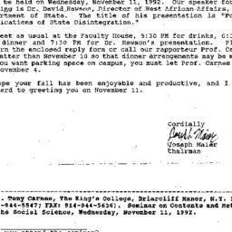 Correspondence, 1992-11-01....