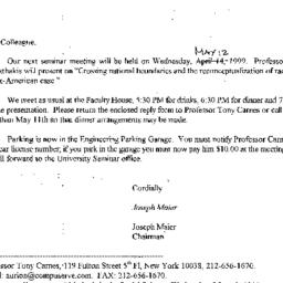 Correspondence, 1999-05-05....