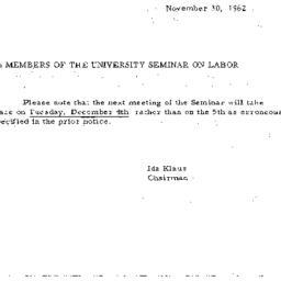 Announcements, 1962-11-30. ...