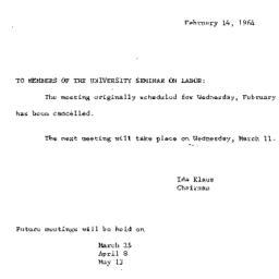 Announcements, 1964-02-14. ...