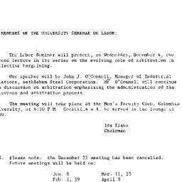 Announcements, 1963-11-22. ...