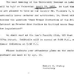 Announcements, 1967-04-10. ...