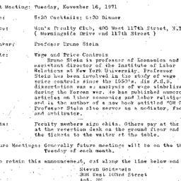 Announcements, 1971-11-16. ...