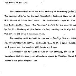 Announcements, 1973-03-14. ...