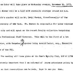Announcements, 1973-11-14. ...