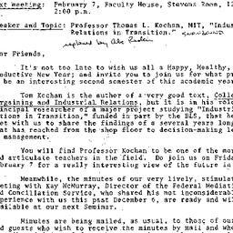 Announcements, 1986-02-07. ...