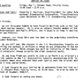 Announcements, 1987-05-01. ...