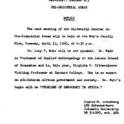 Announcements, 1965-04-13. ...