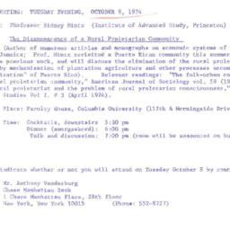 Announcements, 1974-10-08. ...