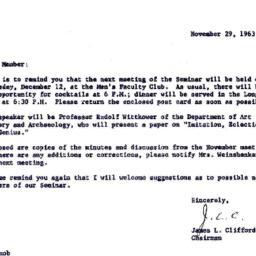 Announcements, 1963-11-29. ...