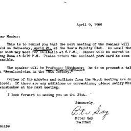 Announcements, 1965-04-09. ...