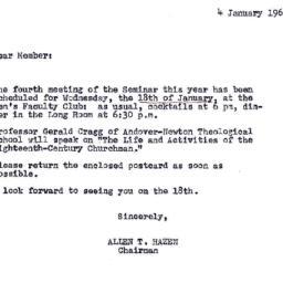 Announcements, 1968-01-04. ...