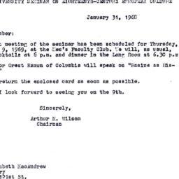 Announcements, 1969-01-31. ...