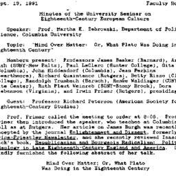 Minutes, 1991-09-19. Eighte...