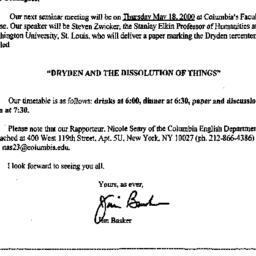 Announcements, 2000-04-29. ...