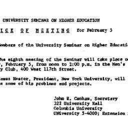 Announcements, 1962-02-05. ...