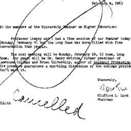 Announcements, 1963-02-04. ...
