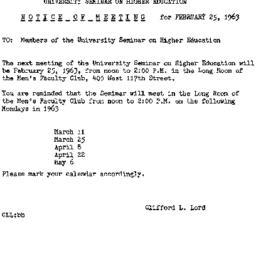 Announcements, 1963-02-08. ...