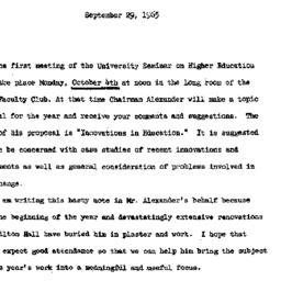 Announcements, 1965-09-29. ...