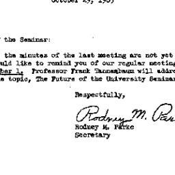 Announcements, 1965-10-29. ...