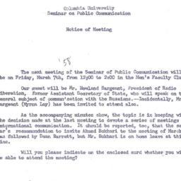 Announcements, 1958-03-07. ...
