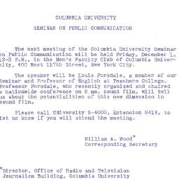 Announcements, 1961-12-01. ...