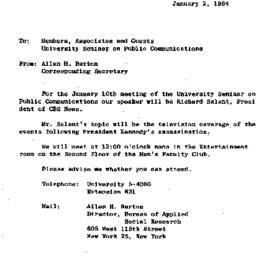Announcements, 1964-01-02. ...