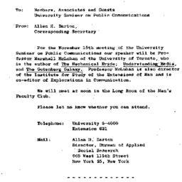 Announcements, 1963-11-08. ...