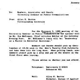 Announcements, 1965-01-29. ...