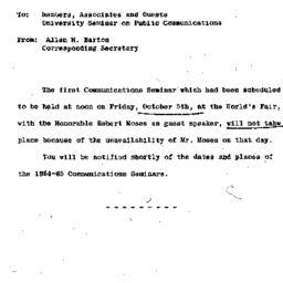 Announcements, 1964-10-05. ...
