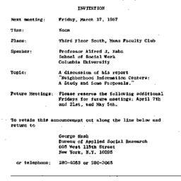 Announcements, 1967-03-17. ...