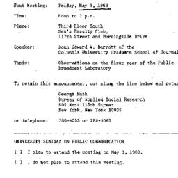 Announcements, 1968-05-03. ...