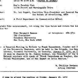 Announcements, 1970-01-16. ...