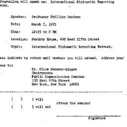 Announcements, 1975-03-07. ...