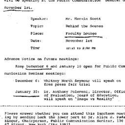 Announcements, 1974-11-01. ...
