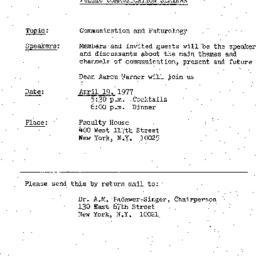 Announcements, 1977-04-19. ...