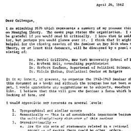 Announcements, 1962-04-26. ...