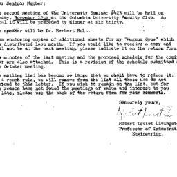 Announcements, 1962-10-24. ...