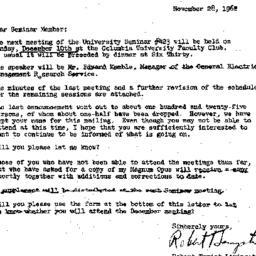 Announcements, 1962-11-28. ...