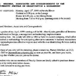 Announcements, 1999-04-12. ...