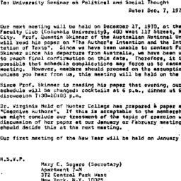 Announcements, 1970-12-07. ...