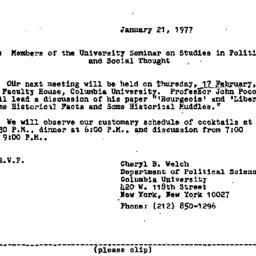 Announcements, 1977-01-21. ...