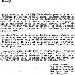 Announcements, 1979-10-29. ...